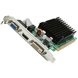 GeForce® 210 (Fanless) 520MHz, 1GB GDDR3 1200MHz, PCIe x16, VGA + DVI + HDMI, Retail