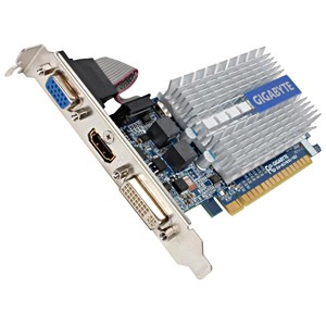GV-N210SL-1GI, GeForce® 210 520MHz, 1GB DDR3 1200MHz, PCIe x16, HDMI + DVI + VGA, Full-height/Low-profile, Retail