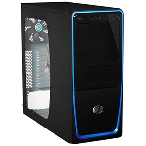 Elite 311 (RC-311B-BWN1) Black/Blue Mid-Tower Case w/ Window, ATX, No PSU, Steel/Plastic