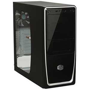 Elite 311 (RC-311B-BWN1) Black/Silver Mid-Tower Case w/ Window, ATX, No PSU, Steel/Plastic