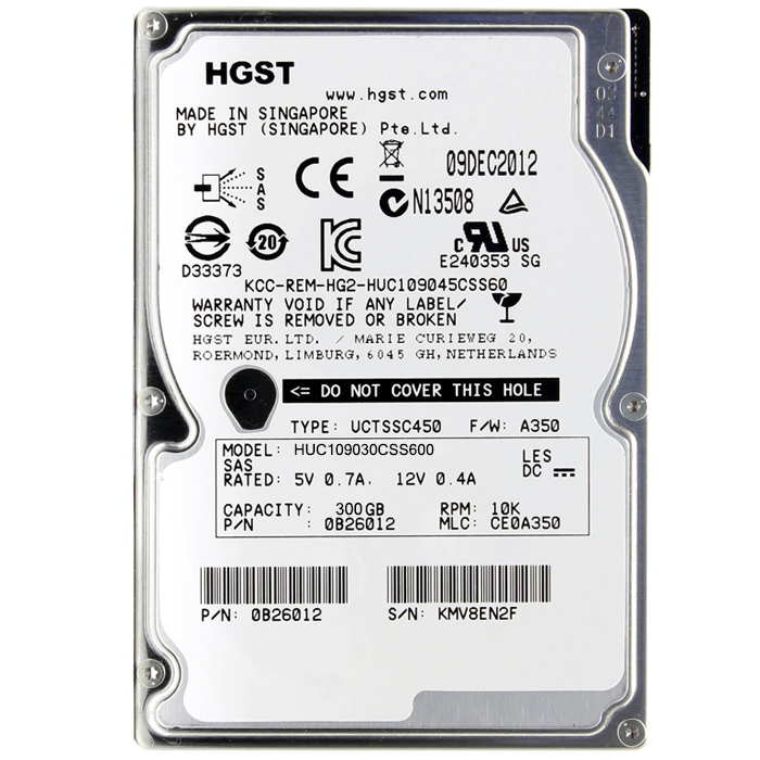300GB Ultrastar C10K900 0B26011, 10000 RPM, SAS 6Gb/s, 64MB cache, 2.5-Inch, OEM HDD