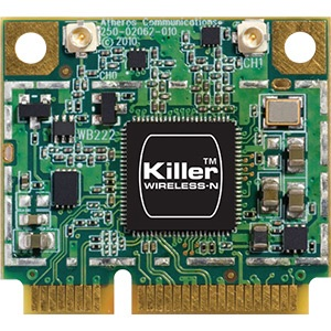 Killer™ Wireless-N 1202 Wireless Card, IEEE 802.11a/b/g/n, 11/54/300 Mbps, Internal PCIe Half Mini Card
