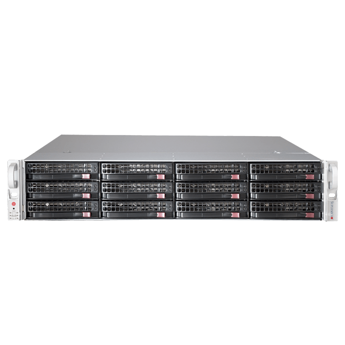 SuperStorage Server 6027R-E1R12T, 2U, Intel C602, 12x SATA/SAS, LSI 2208 6Gbps SAS, 16x DDR3, Dual 10Gb Ethernet, 920W Rdt PSU