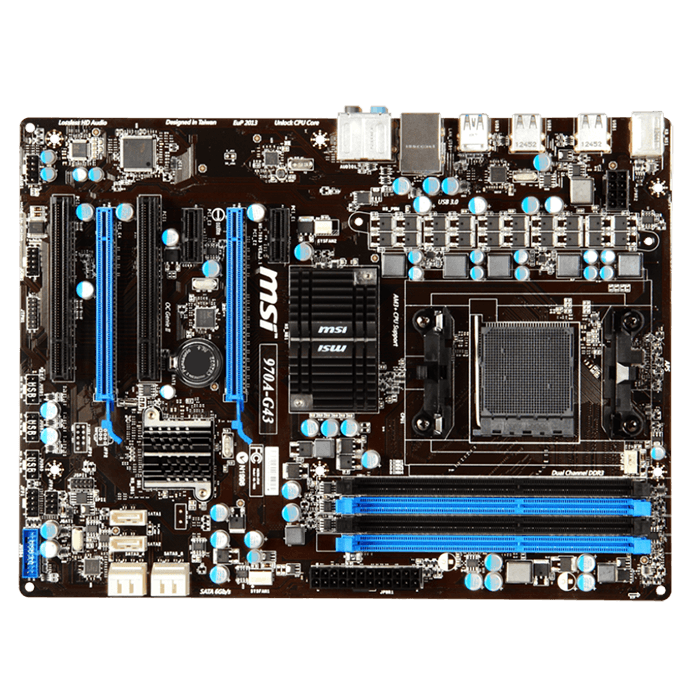 970A-G43, AMD 970 Chipset, AM3+, DDR3 32GB, ATX Retail Motherboard