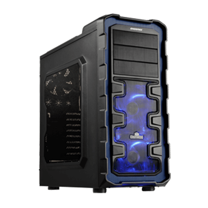 Ostrog GT Series ECA3280A-BL w/ Window, No PSU, ATX, Black/Blue, Mid Tower Case