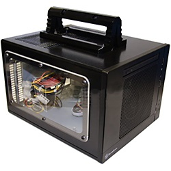 "Modified Sugo SG05 Black Case w/ Transparent Window/Handles, 3.5"" HDD /1, 2.5"" HDD / 1, min-ITX, 2 slots, 300W SFX PSU, Steel"