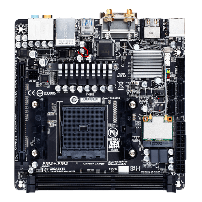 GA-F2A88XN-WIFI, AMD A88X, FM2+, DDR3 64GB, HDMI, Mini-ITX Retail Motherboard