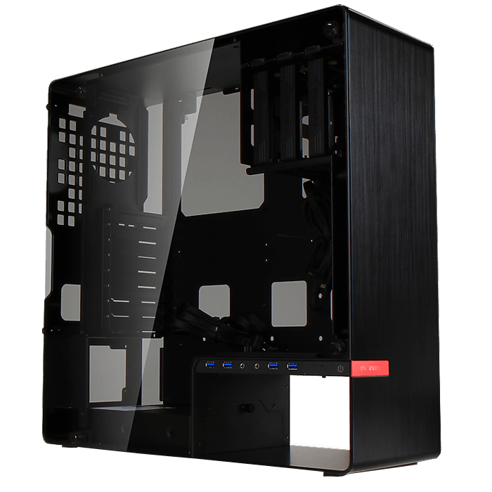 904.PLUS Black Mid-Tower Case w/ Tempered Glass Side Panels, ATX, No PSU, Aluminum