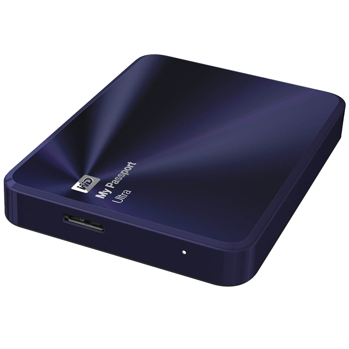 2TB WD My Passport Ultra Metal, USB 3.0, Premium Portable, Blue-Black, Retail External Hard Drive