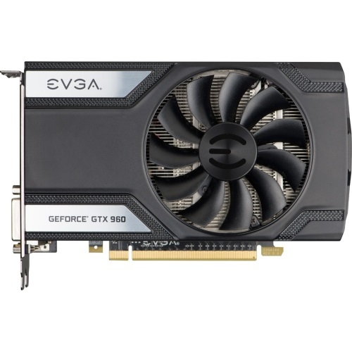 02G-P4-2962-KR - EVGA GeForce GTX 960 Graphic Card 1.22 GHz Core 1.28 GHz Boost Clock 2 GB GDDR5 SDRAM PCI Express 3.0 x16 Dual Slot Space Required 7010 MHz Memory Clock 128 bit Bus Width 4096 x 2160 SLI G sync Fan Cooler DirectX 12, OpenGL