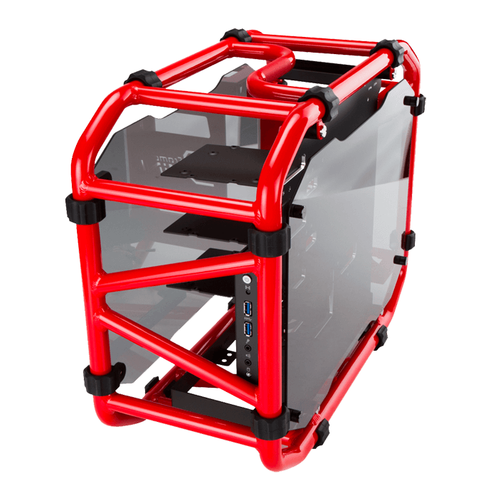 D-FRAME MINI w/ Window, No PSU, Mini-ITX, Red, Mini Tower Case