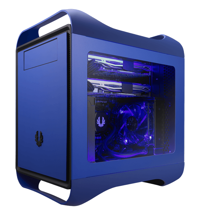 Prodigy M Window Cobalt Blue No PSU Micro ATX Mini Tower Case