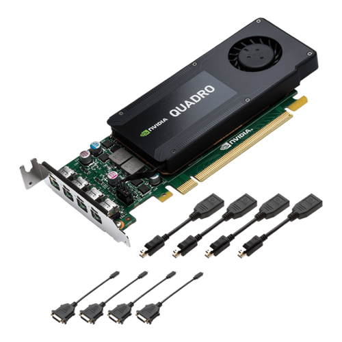 NVIDIA® Quadro® K1200 for DVI, 4GB GDDR5, PCIe x16, 4 x Mini DisplayPort+DVI-D SL adapters, Low profile Single Slot, Retail