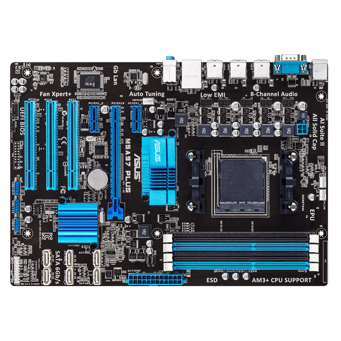M5A97 PLUS, AMD 970 Chipset, AM3+, DDR3 32GB, ATX Retail Motherboard