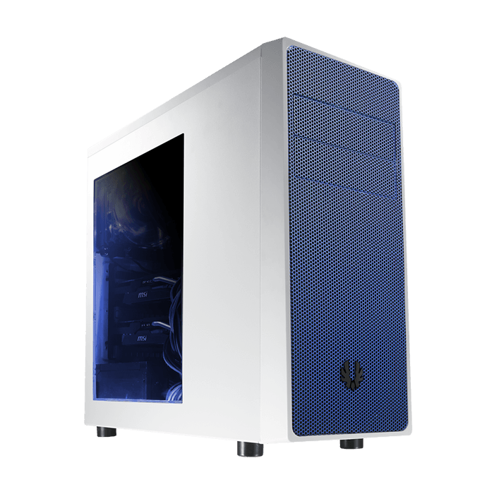 Neos Series w/ Window, No PSU, ATX, White/Blue, Mid Tower Case