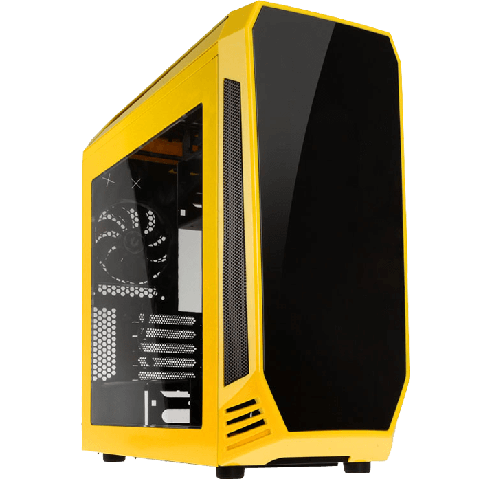 Aegis Yellow, w/ Icon Display, MicroATX, No PSU, Steel/Plastic, Mid-Tower Computer Case