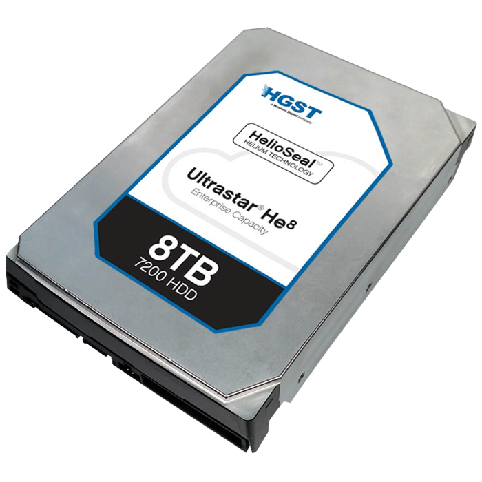 Ultrastar He8, 8 TB, Internal Hard Drive, SAS 12Gb/s, 3.5 Inch, 7200 rpm, 512E ISE, 128 MB Buffer, OEM