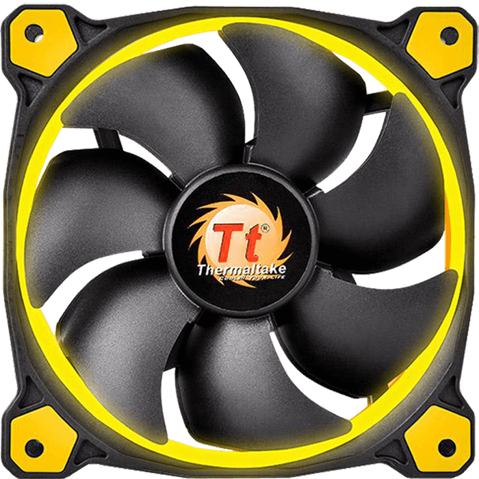 Riing 12 Series High Static Pressure 120mm w/ Yellow LEDs, 1500 RPM, 40.6 CFM, 24.6 dBA Cooling Fan
