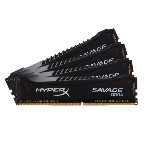 16GB Kit (4 x 4GB) HyperX Savage DDR4 2666MHz, PC4-21300, CL13 (13-14-14) 1.35V, Non-ECC, Black, DIMM Memory