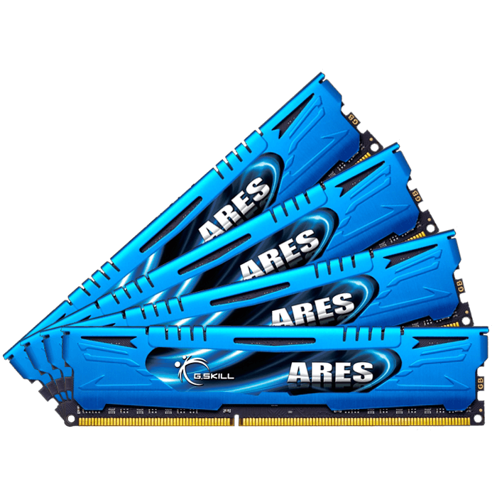 16GB (4 x 4GB) Ares Blue PC3-14900 DDR3 1866MHz CL9 (9-10-9-28) 1.50V SDRAM DIMM, Non-ECC, Unbuffered Memory