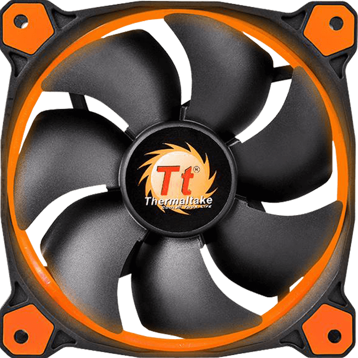 Riing 12 Series High Static Pressure 120mm w/ Orange LEDs, 1500 RPM, 40.6 CFM, 24.6 dBA Cooling Fan