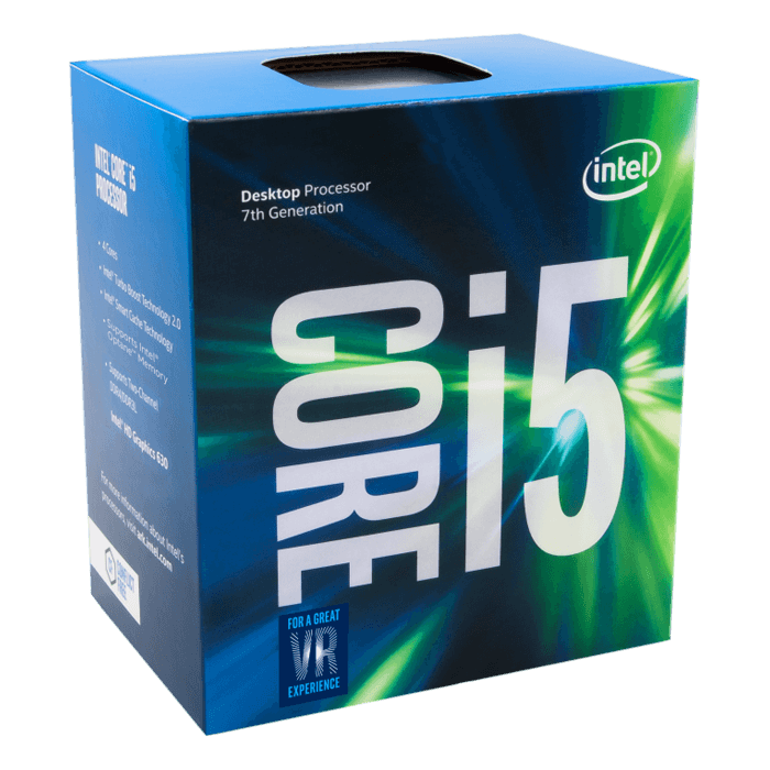 Core i5-7400 Quad-Core 3.0 - 3.5GHz Turbo, HD Graphics 630, LGA 1151, 6MB L3 Cache, DDR3L / DDR4, 14nm, 65W, Retail Processor