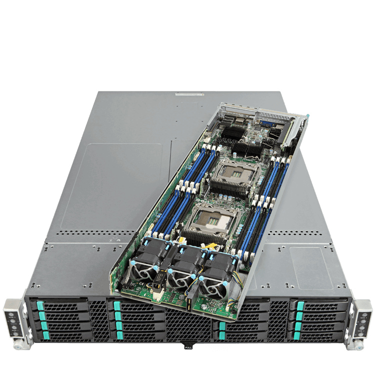 2U Rack Server - Intel® H2216XXKR2 / HNS2600TP 8-Way Xeon® E5 SATA Series 4-Node Modular Server System
