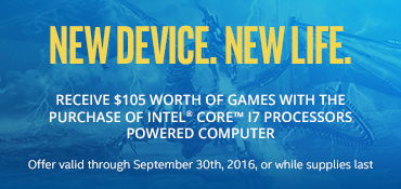Receive $105 worth of games with the purchase of an Intel Core i7 powered PC