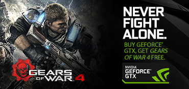 Purchase a qualifying graphics card or notebook and receive Gears of War 4 free.