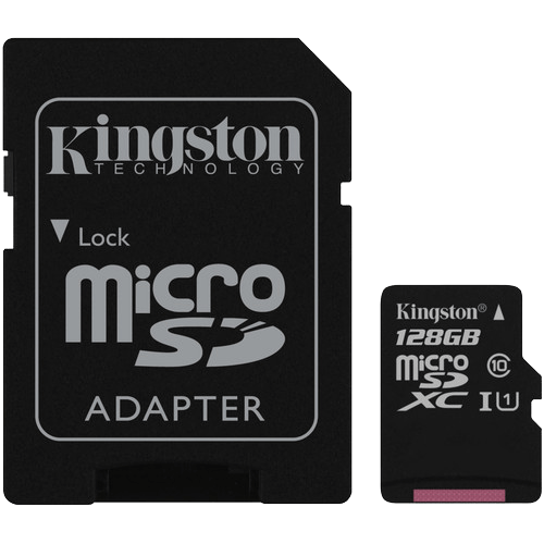 128GB Class 10/UHS-I 45 MB/s Read 10 MB/s Write microSDXC Memory Card with SD Adapter