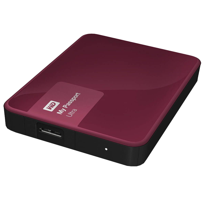 1TB WD My Passport Ultra, USB 3.0, Premium Portable, Berry, Retail External Hard Drive