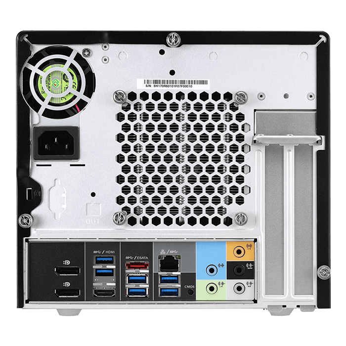 SH170R6 Black Mini PC Barebone, Intel® Core i3 / i5 / i7, Intel® H170, DDR4-2133 DIMM 64GB / 4, SATA / 4, USB 3.0 / 8, USB 2.0 / 2, DP + HDMI, GbLAN, 300W PSU