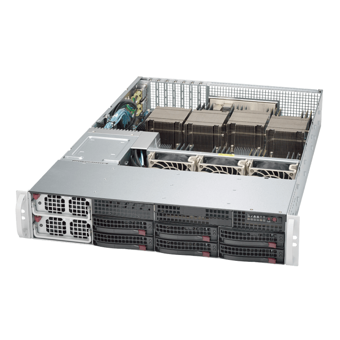 SuperServer 8028B-TR4F, 2U, Intel C602J, 6x SATA, 32x DDR4, Dual 1Gb Ethernet, 1400W Rdt PSU