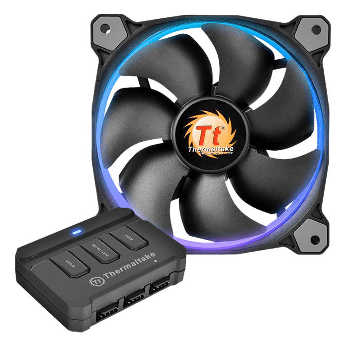 Riing 14 LED RGB 140mm, w/ Controller, 1400 RPM, 51.15 CFM, 28.1 dBA, Cooling Fan