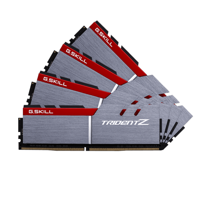 32GB Kit (4 x 8GB) Trident Z DDR4 3200MHz, CL15, Silver-Red, DIMM Memory