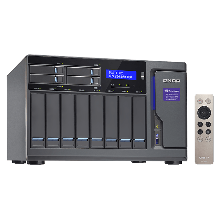 TVS-1282 12-bay NAS Server, Intel® Core™ i3-6100 3.7GHz, 64GB DDR4 RAM (8GB pre-installed), SATA 6Gb/s, M.2 / 2, HDMI / 3, GbLAN / 4, USB 3.0 / 5, 250W PSU