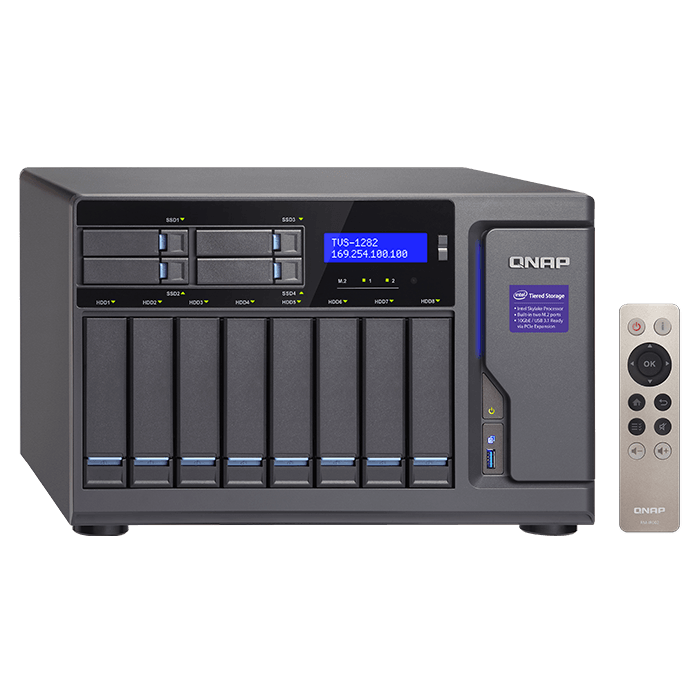 TVS-1282 12-bay NAS Server, Intel® Core™ i7-6700 3.4GHz, 64GB DDR4 RAM (32GB pre-installed), SATA 6Gb/s, M.2 / 2, HDMI / 3, GbLAN / 4, USB 3.0 / 5, 450W PSU