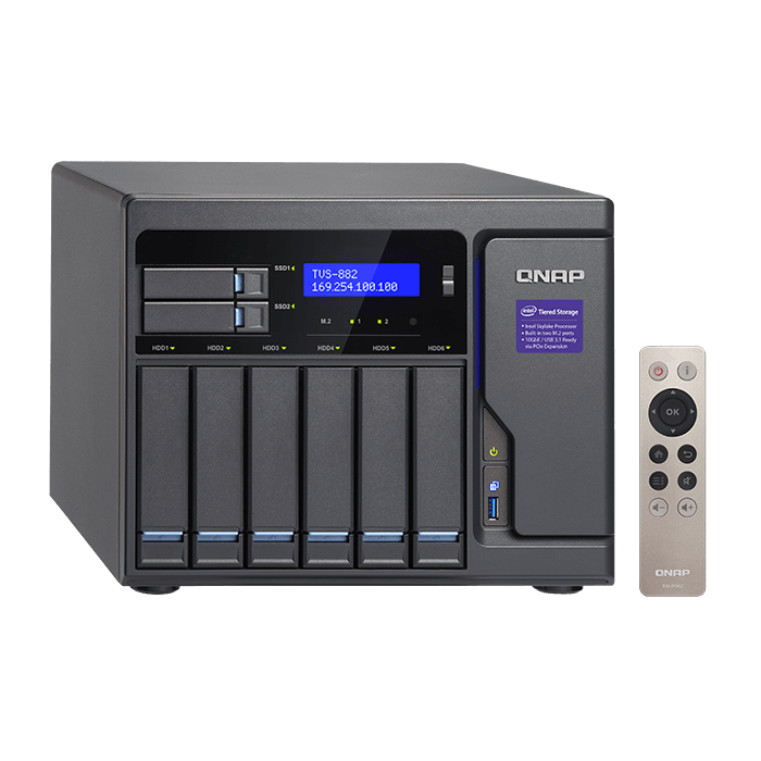 TVS-882 8-bay NAS Server, Intel® Core™ i3-6100 3.7GHz, 64GB DDR4 RAM (8GB pre-installed), SATA 6Gb/s, M.2 / 2, HDMI / 3, GbLAN / 4, USB 3.0 / 5, 250W PSU