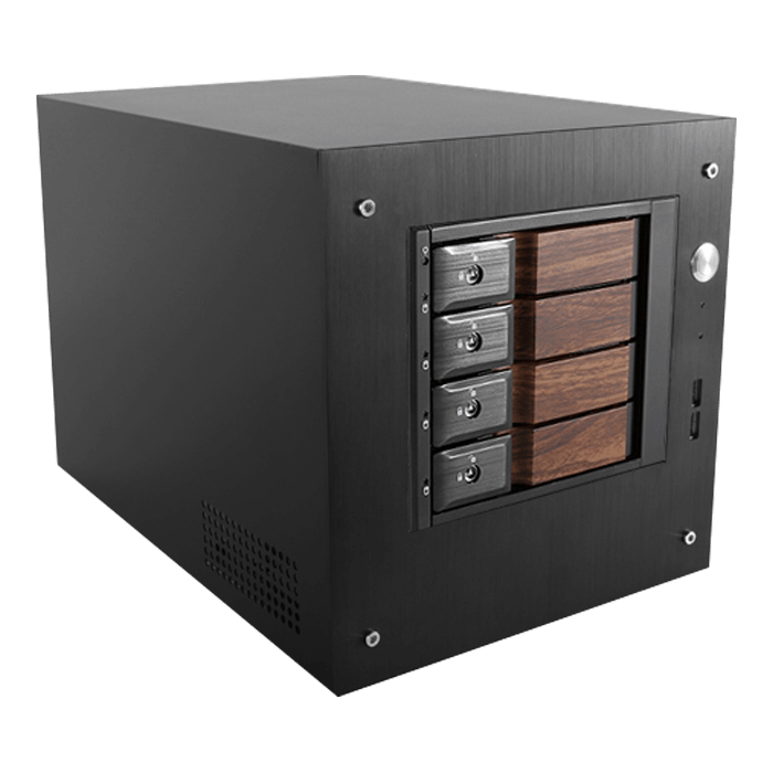 "S-35-DE4WB, Wood Look Bezel, 4x 3.5"" Hotswap Bays, 1x 2.5"" Drive Bay, No PSU, Mini-ITX, Black, Storage Mini Tower"