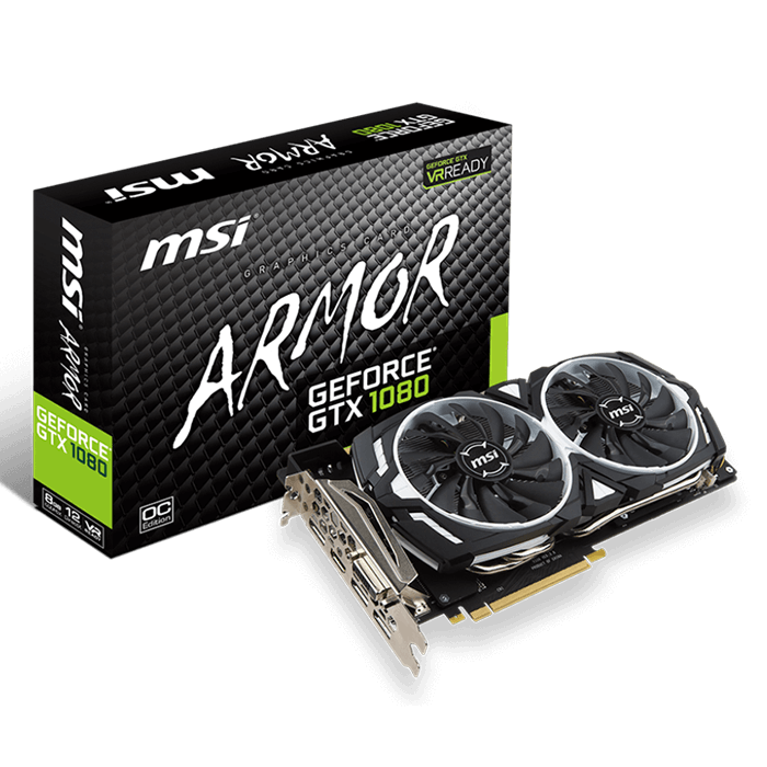 GeForce GTX 1080 ARMOR 8G OC, 1657 - 1797MHz, 8GB GDDR5X, Graphics Card