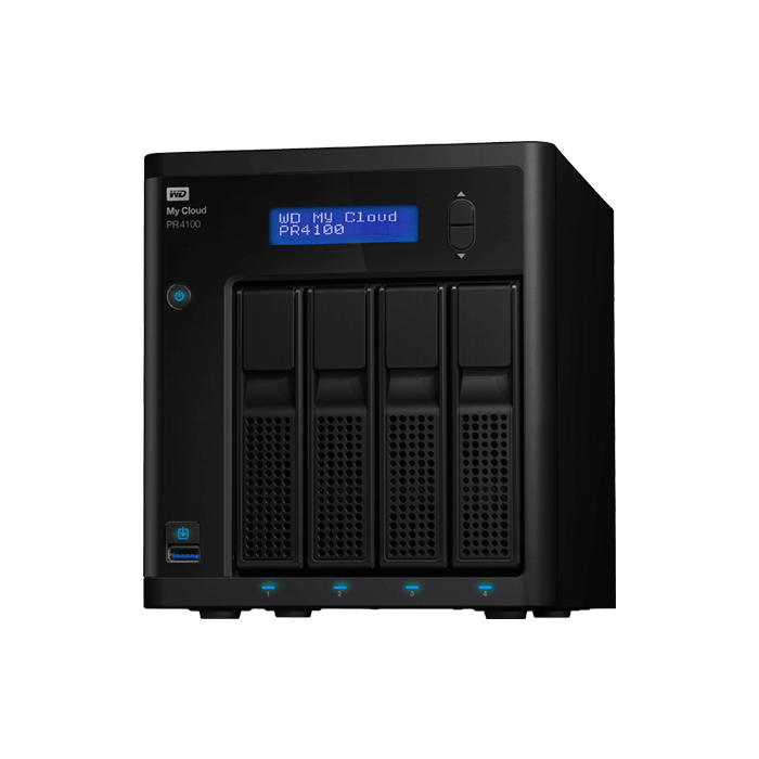 My Cloud Pro Series PR4100 4-bay NAS Server, Intel® Pentium N3710 1.6GHz, 16GB DDR3 RAM (4GB pre-installed), SATA 6Gb/s, GbLAN / 2, USB 3.0 / 3
