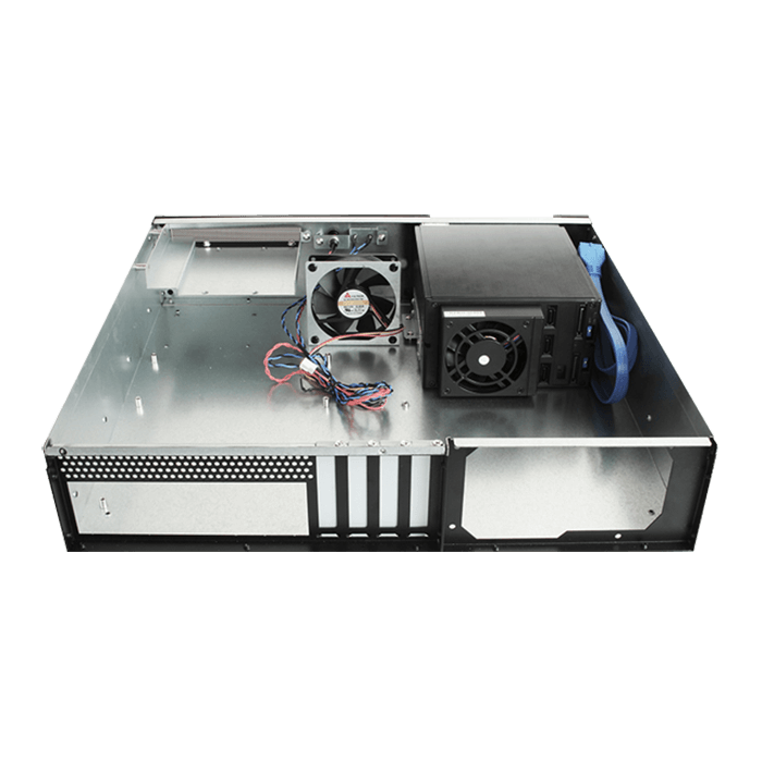 "D-230HB-DT-BLUE, Blue HDD Handle, 3 x 3.5"" Hotswap Bay, No PSU, microATX, Black, 2U Desktop Chassis"