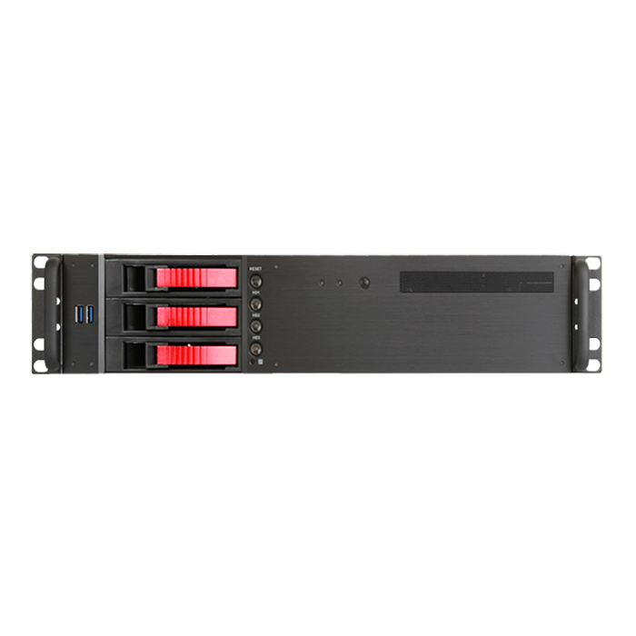 "D-230HB-T-RED, Red HDD Handle, 1x Slim 5.25"", 3x 3.5"" Hotswap Bays, No PSU, microATX, Black, 2U Chassis"