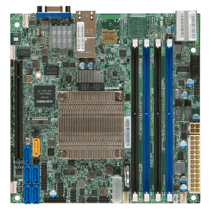 X10SDV-2C-TLN2F, Intel SoC D-1508, DDR4-1866 128GB RDIMM / 4, SuperDOM, VGA, M.2, 10GbLAN / 2, Mini-ITX Retail