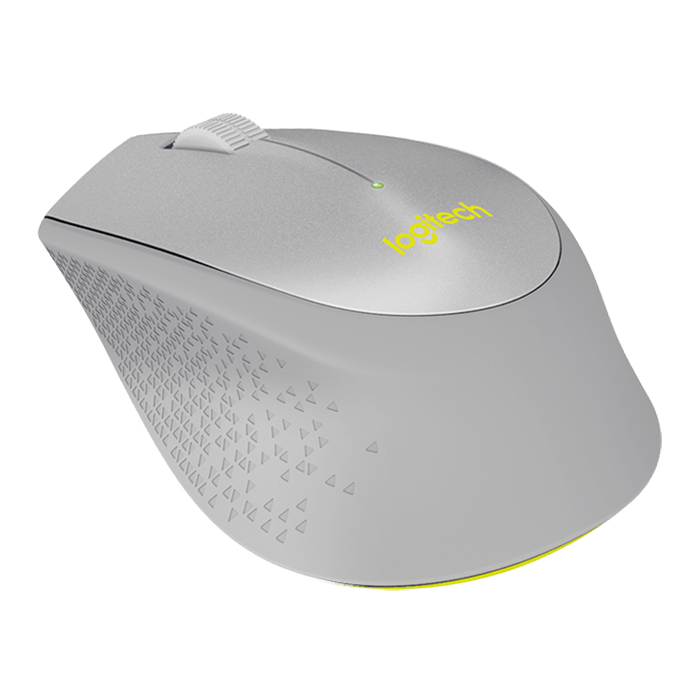 M330 Silent Plus, 1000dpi, Wireless USB, Grey/Yellow, Optical Mouse