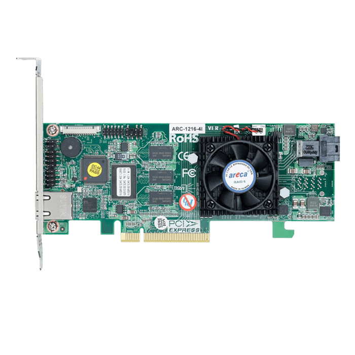 ARC-1216-4i, SAS 12Gb/s, 4-Port, PCIe 3.0 x8, Controller with 1GB Cache, Includes 1x Internal MiniSAS HD (SFF-8643) to 4x SATA Breakout Cables