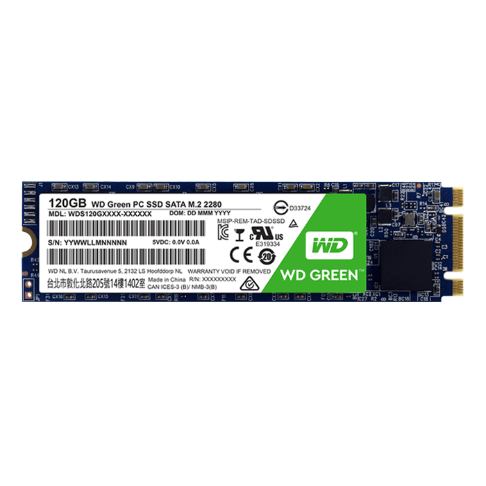 120GB WD Green WDS120G1G0B 2280, 540 / 430 MB/s, SLC, SATA 6GB/s, M.2 SSD