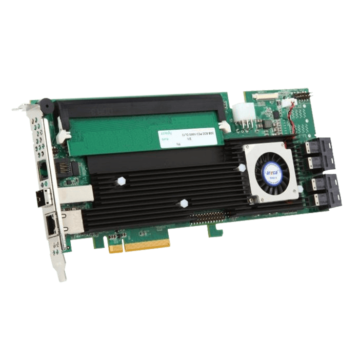 ARC-1883ix-16-443, SAS 12Gb/s, 20-Port, PCIe 3.0 x8, Controller with 4GB Cache, Includes 4x MiniSAS HD (SFF-8643) to MiniSAS HD (SFF-8643) Internal Cables