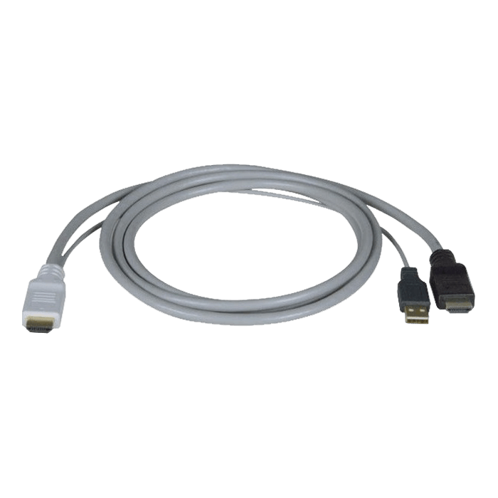 HDMI Male + USB Type A Male to HDMI Male, 15ft, Black