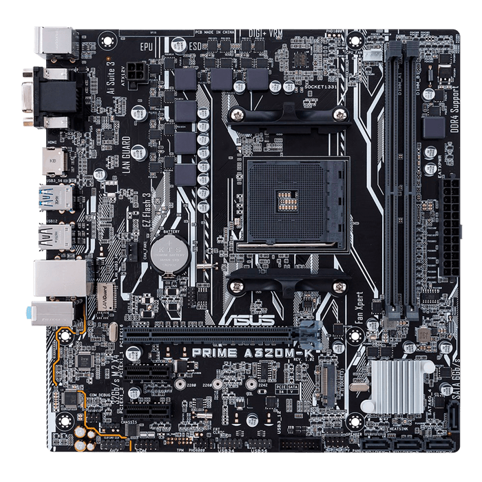 PRIME A320M-K, AMD A320 Chipset, AM4, HDMI, microATX Motherboard
